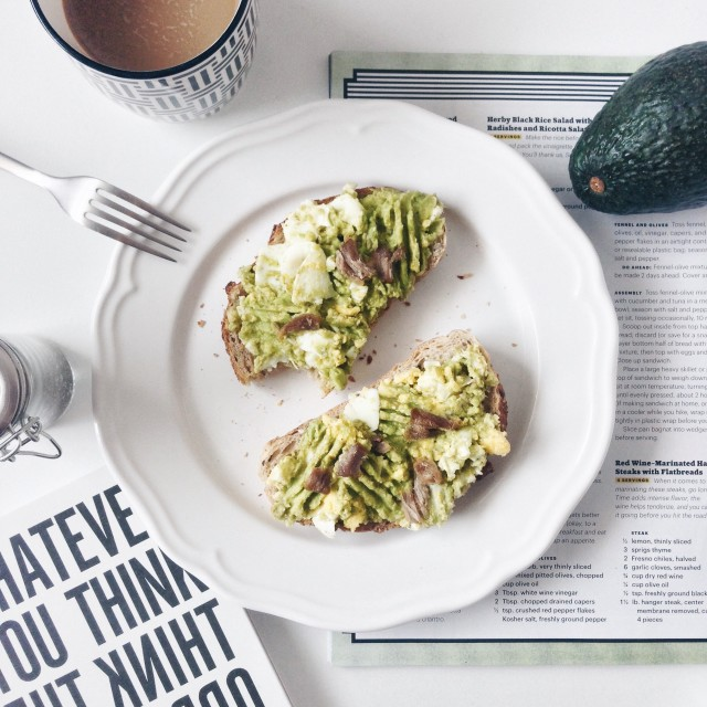 Simply breakfast with avocado toast.