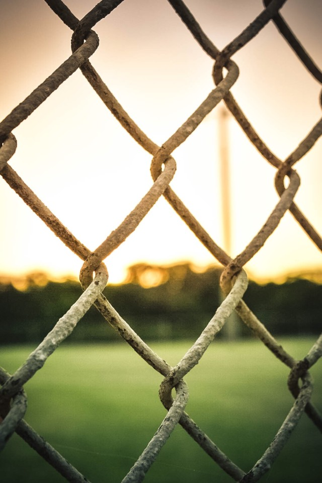 Through the fence.
