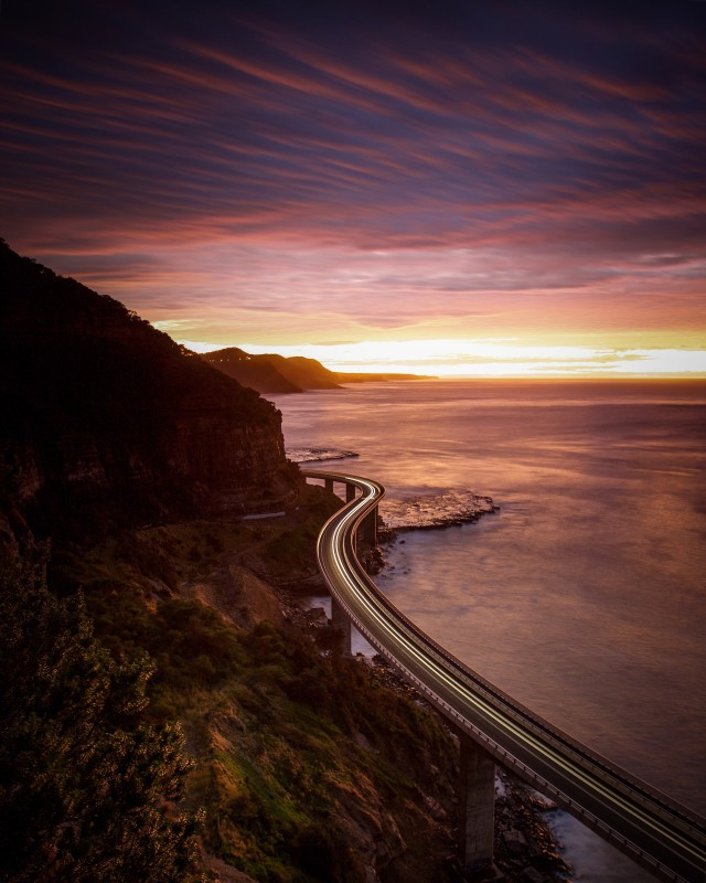 An earlier shot at first light of sea cliff bridge at coalcliff, Australia