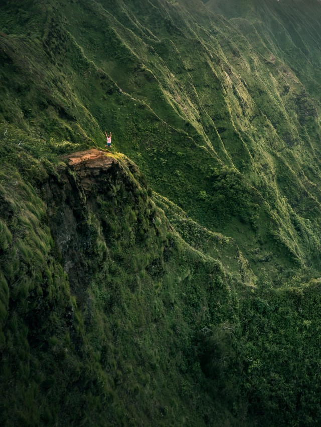 Jumping in the mountains of Hawaii Oahu