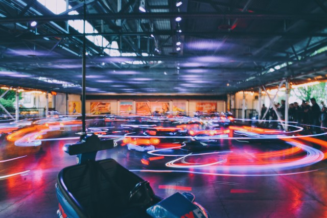 Bumper cars light trails