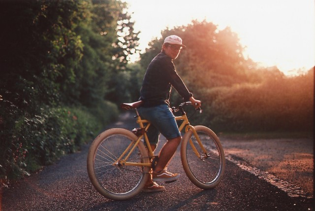 Todd on his custom - Taken on Provia slide film. He built this fixed gear bike with his dad's machining tools.