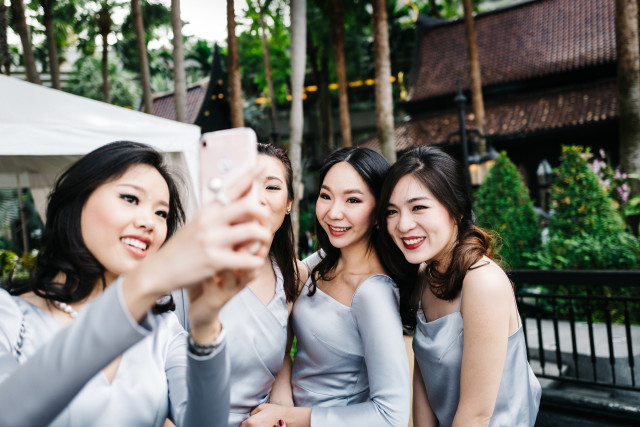 Asian girls taking selfie