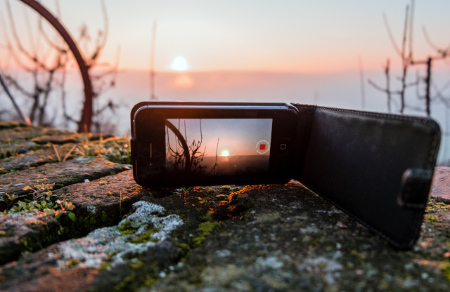 Shooting while time lapsing an amazing sunset with my iPhone