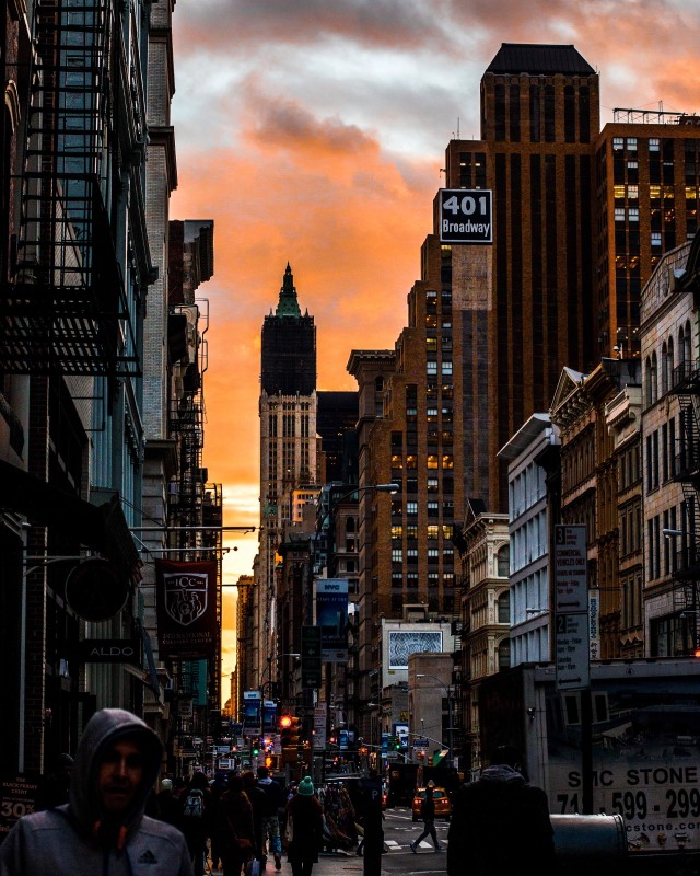 A busy evening in New York at golden hour