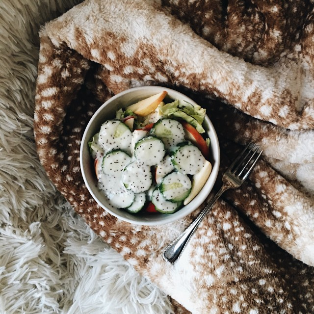 Salad with Apple and Cucumber in a White Bowl, Covered in Poppy Seed Dressing, Placed on Fawn Blanket with Fork. Shot from Above