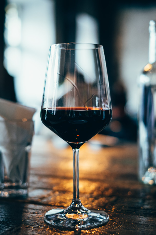 glass of red wine in a restaurant