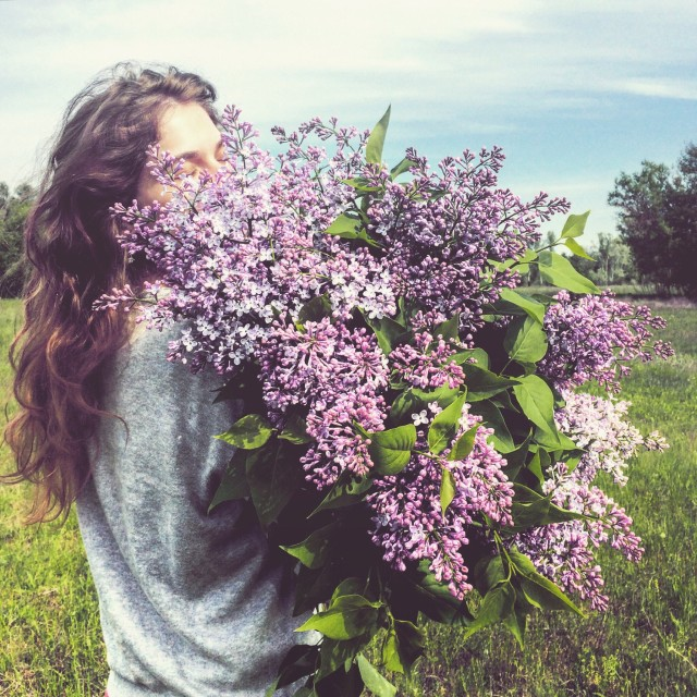 A girl with lilac