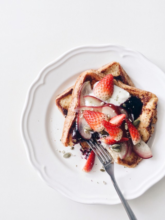 Breakfast with strawberries french toasts