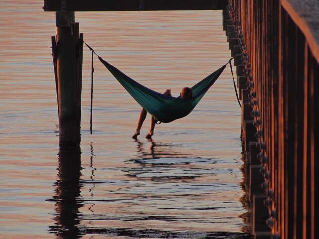 Hammock on the water at Dusk