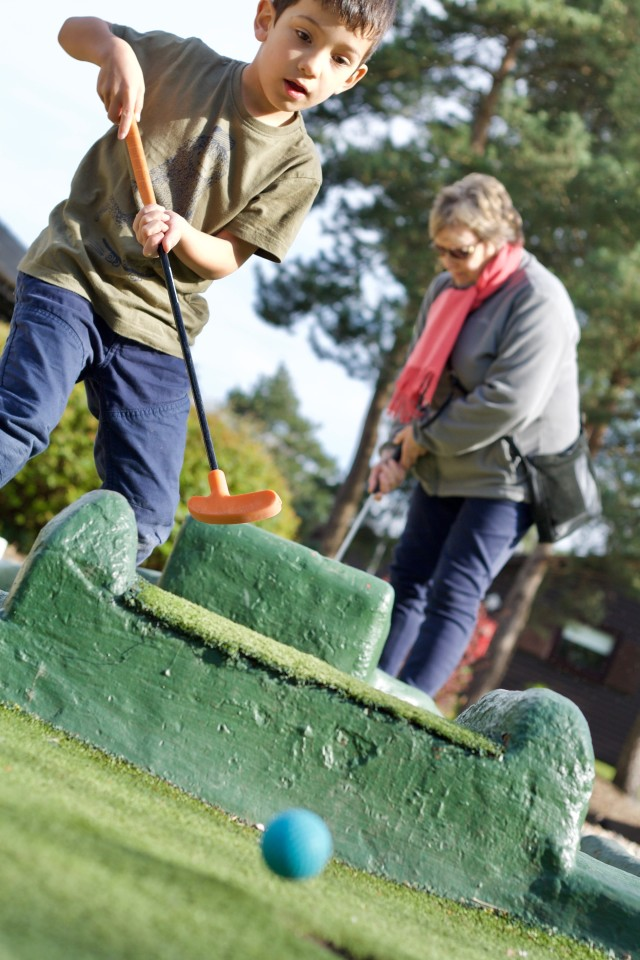 Boy playing mini golf with his Grandma, about to get the ball into the hole