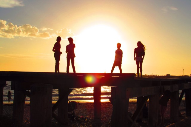Children in the sunset