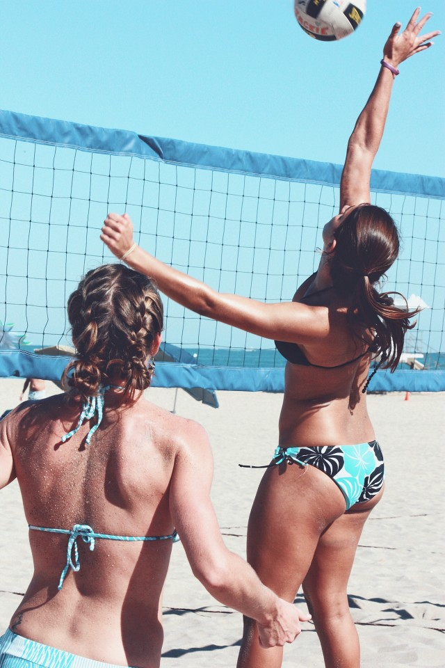 Women playing beach volleyball in FortLauderdale