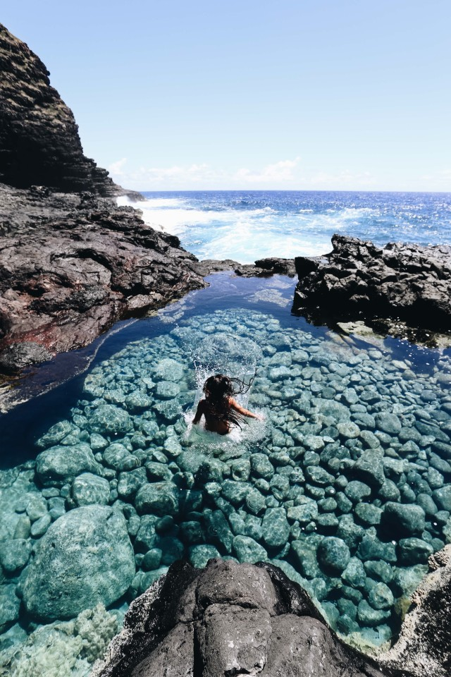jumping into crystal clear tidepools💧