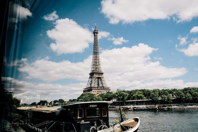 Point of view to eiffel tower from the boat, Paris.