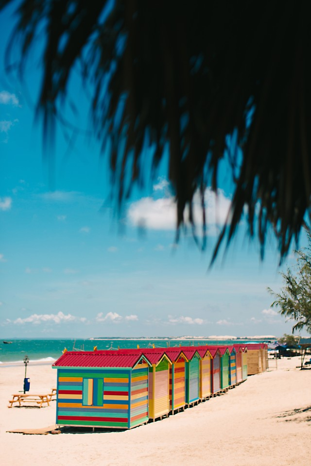 Summer vacation at the colorful house on the beach