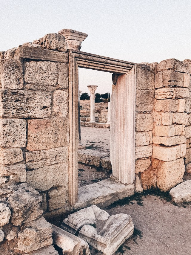 The ancient ruins of the old city . Columns , ruins of houses