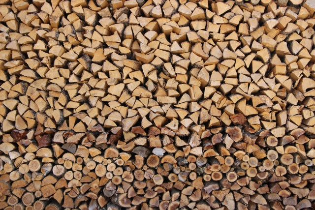 Wall of  chopped wood.