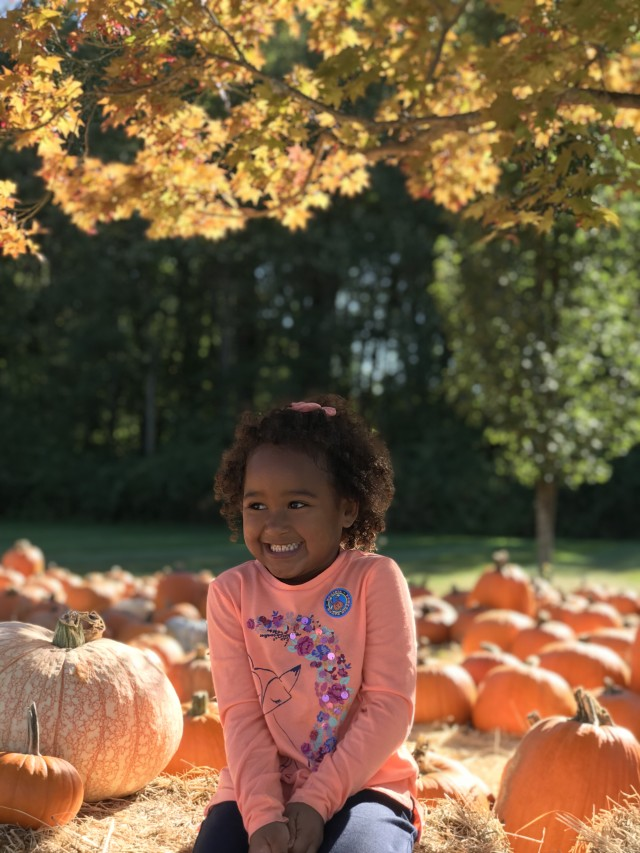 Enjoying pumpkin patch