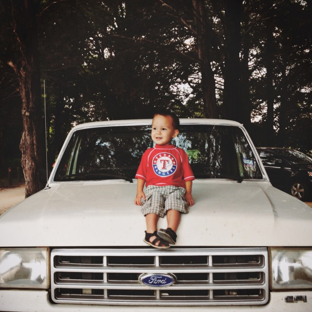 Cute Texas toddler on truck
