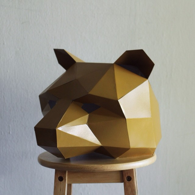 Polygon bear helmet brown bear mask unique shape costume