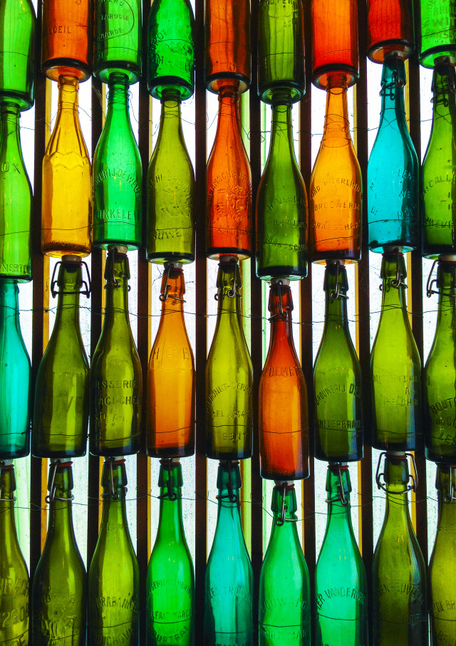 Vintage colourful glass bottles