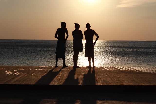 When I was in Erdek, three friends were watching the sunset.
