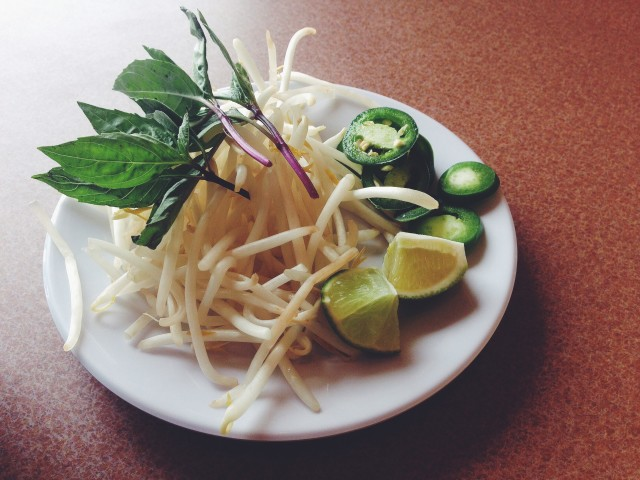 Pho Ga, limes, peppers, bean sprouts, basil, garnish
