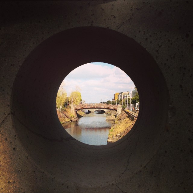 View of bridge through peephole