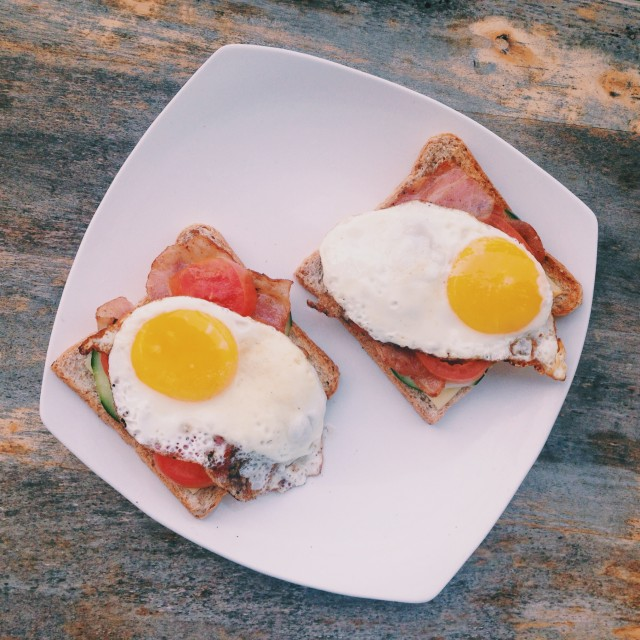 of eggs and sandwiches