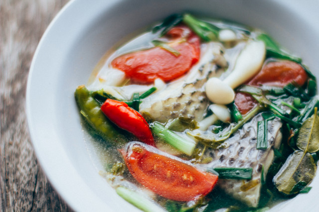 Thai food : Thai Herbal spicy Tilapia fish soup.