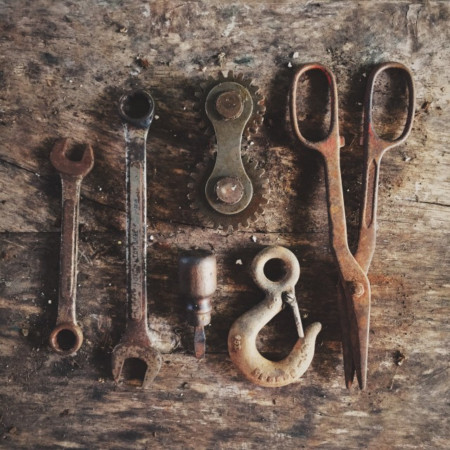 Mechanics Tools On Rustic Table
