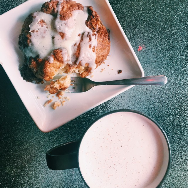 Cinnamon scone and chai milk tea.