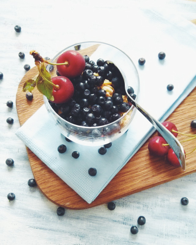 Muesli with bluebarries and cherries