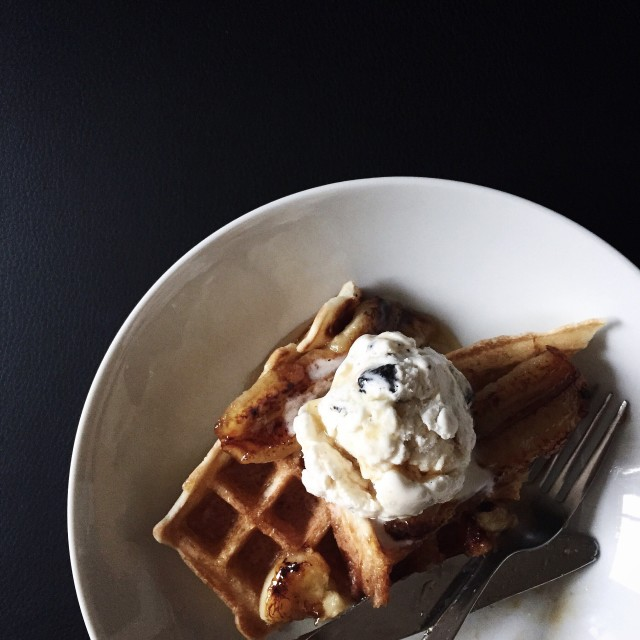 Waffles with caramelized sugar and caramel fudge ice cream.