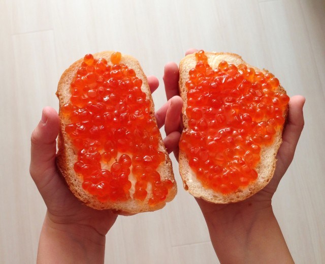 healthy Breakfast-a sandwich with red caviar