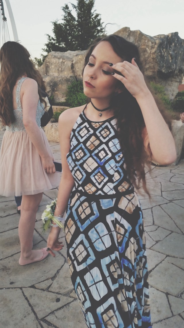 My prom! Ugh I love this dress, it's pretty rad. And the choker I wear like everyday. But this is my face therefore it already has permission ~