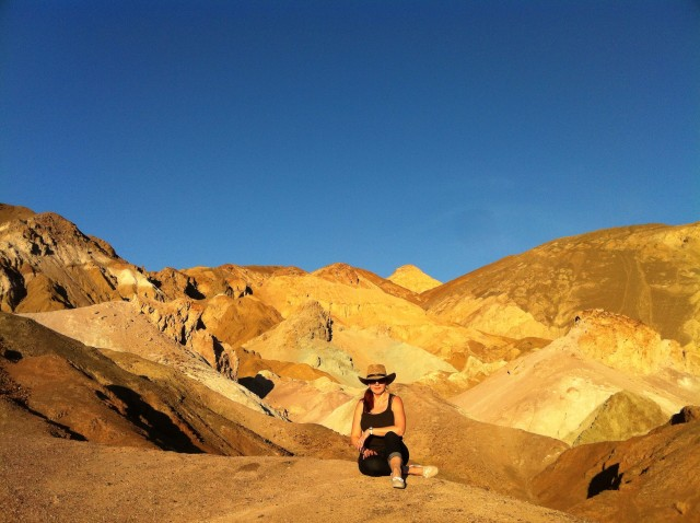Sunset at the Death Valley California. Mountain range called Artist's Palette.