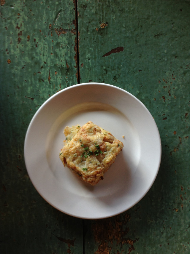 Delicious bacon & chives scone