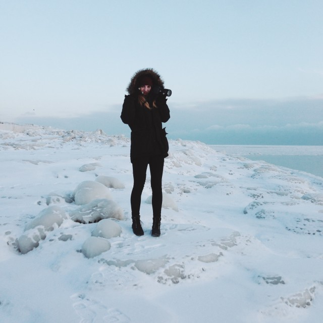 Here I am standing on the frozen tundra that is Lake Michigan during February.