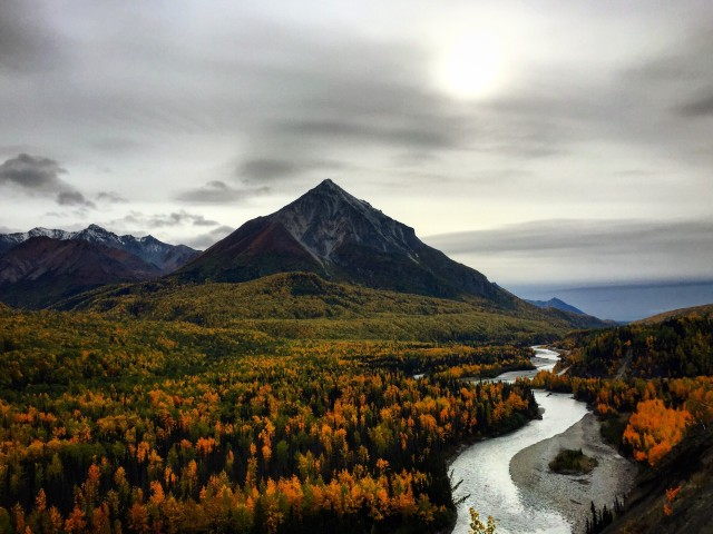 Beautiful fall colors surround King Mountain, located just off the Glenn Highway about an hour north of Anchorage. This is just one of many signs that winter is coming, and will always come, to my beautiful Alaska.