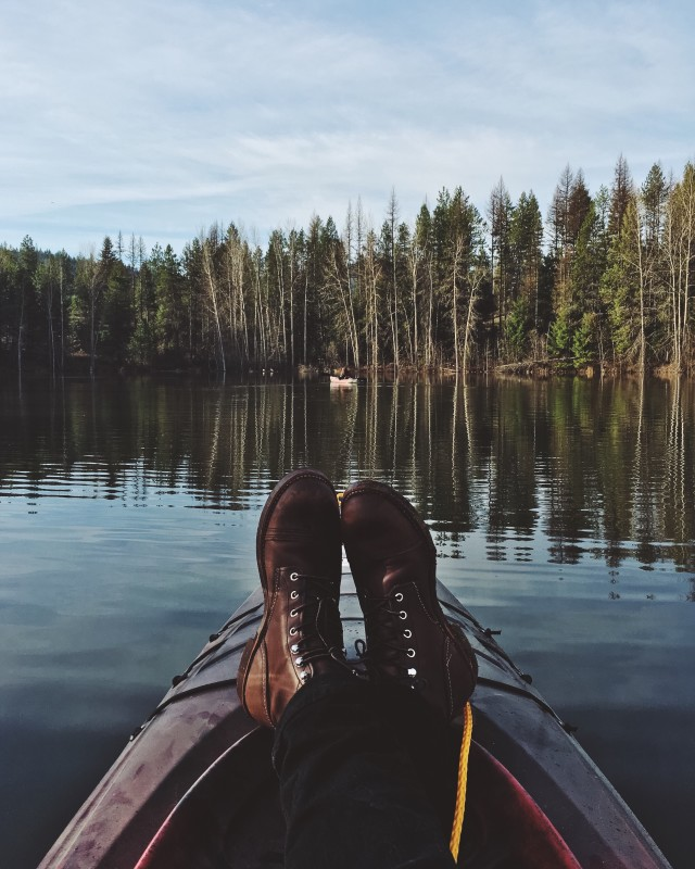 Relaxing in kayak on lake from my perspective