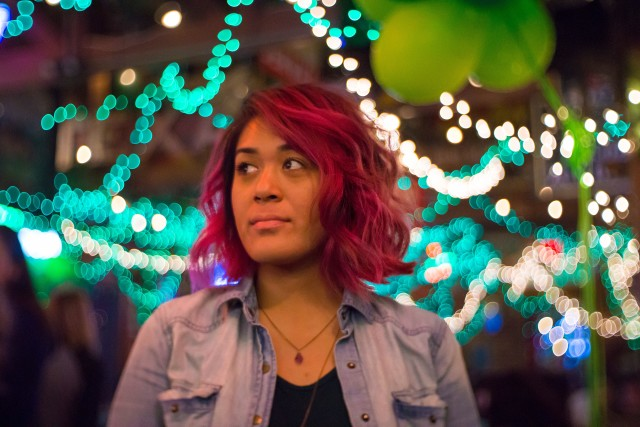 Purple hair and bokeh