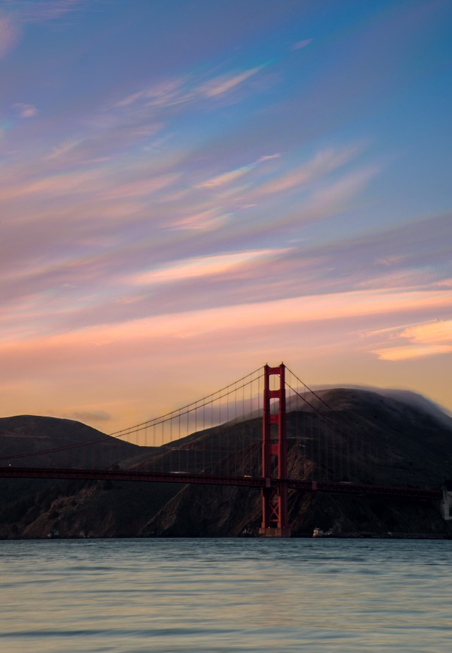 Sunset cloud stack over GGB