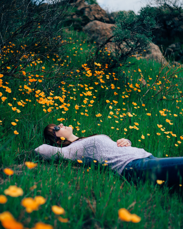 A beautiful young woman lays in the grass among the flowers on a hillside while taking a hike.