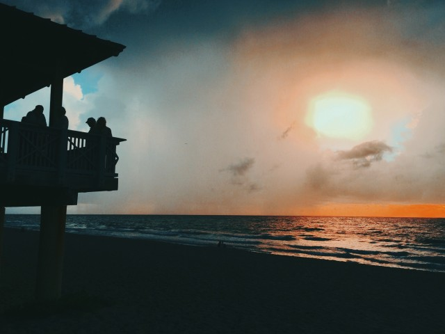 Watching the sunrise from Boca Raton Beach Pavilion