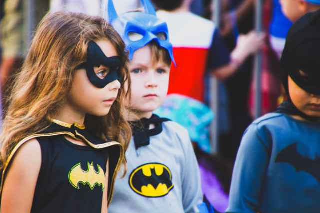 $$  Girl Power - children in Batman costumes