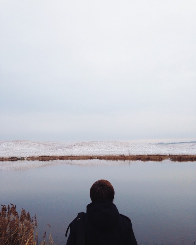 the traveler looks at the winter landscape