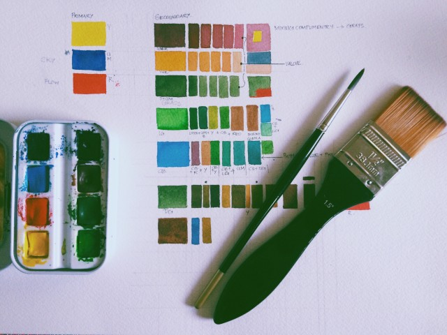 watercolor swatches and brush set up ready to paint. Color therapy painting ready, color combination,pigment, paint,