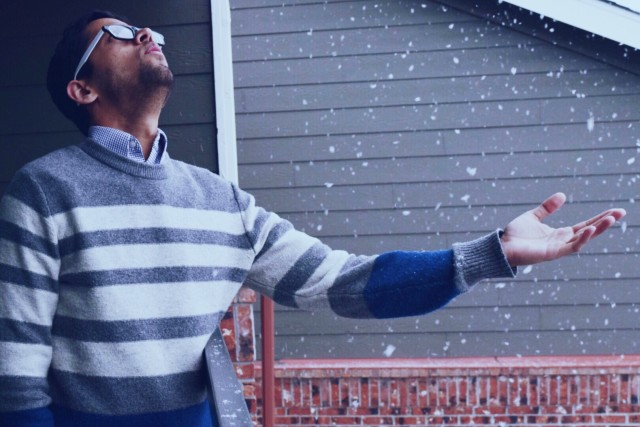 Winter blues, cozy vibes, sweater, surprise, excitement, snow fall, snow flakes, textures, snuggle mood
